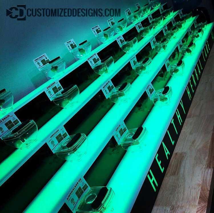 Lighted Cannabis Display Shelving