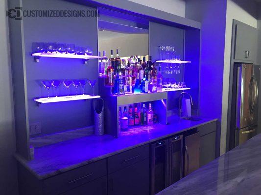 Modern Style Home Bar w/ Stainless Raised Liquor Display