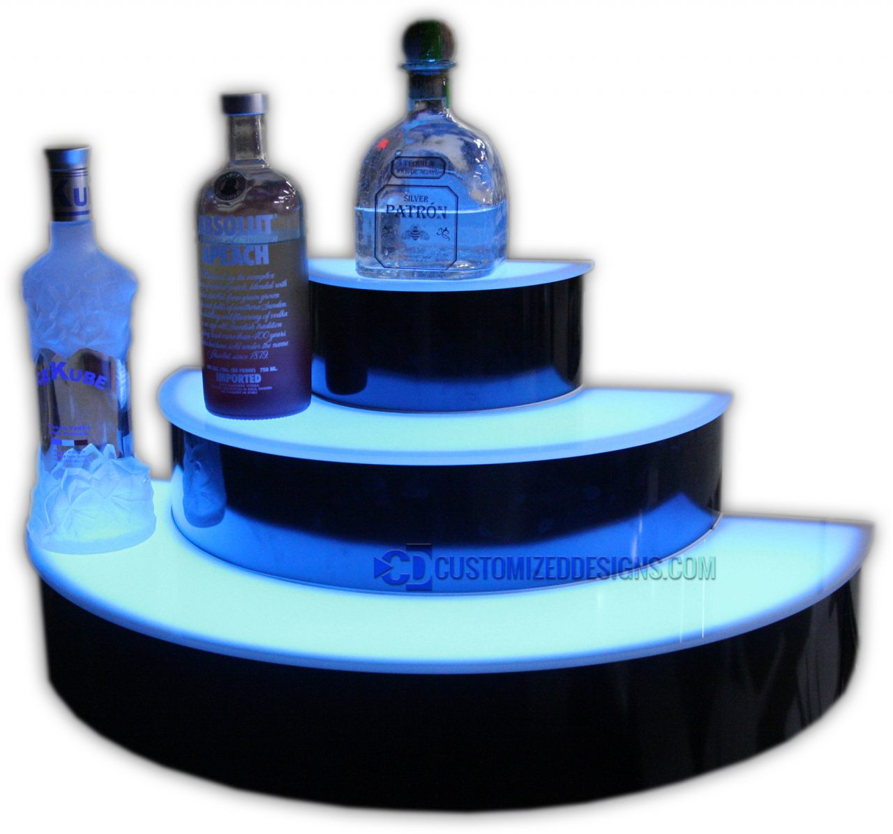 Custom 3 Tier Half Circle Lighted Liquor Display