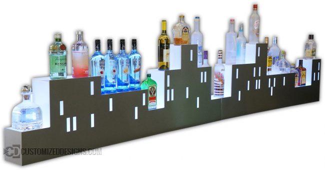 Custom Skyline Shaped LED Lighted Back Bar Display