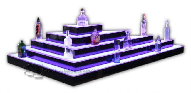 Custom Triangular Shaped 5 Tier LED Lighted Island Liquor Display