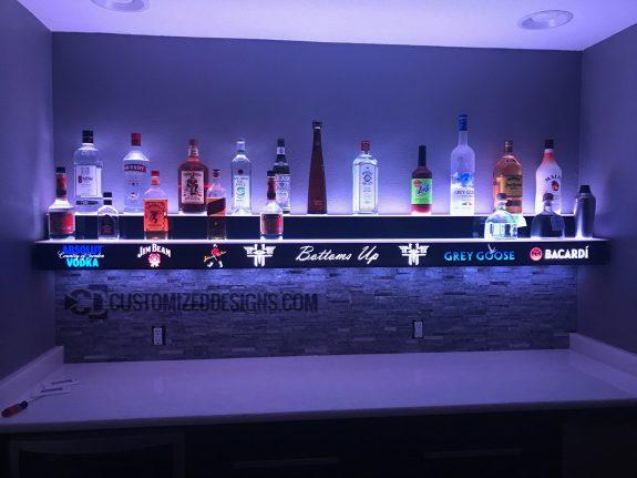 Wall Mounted 2 Tier Bar Display w/ Liquor Logos