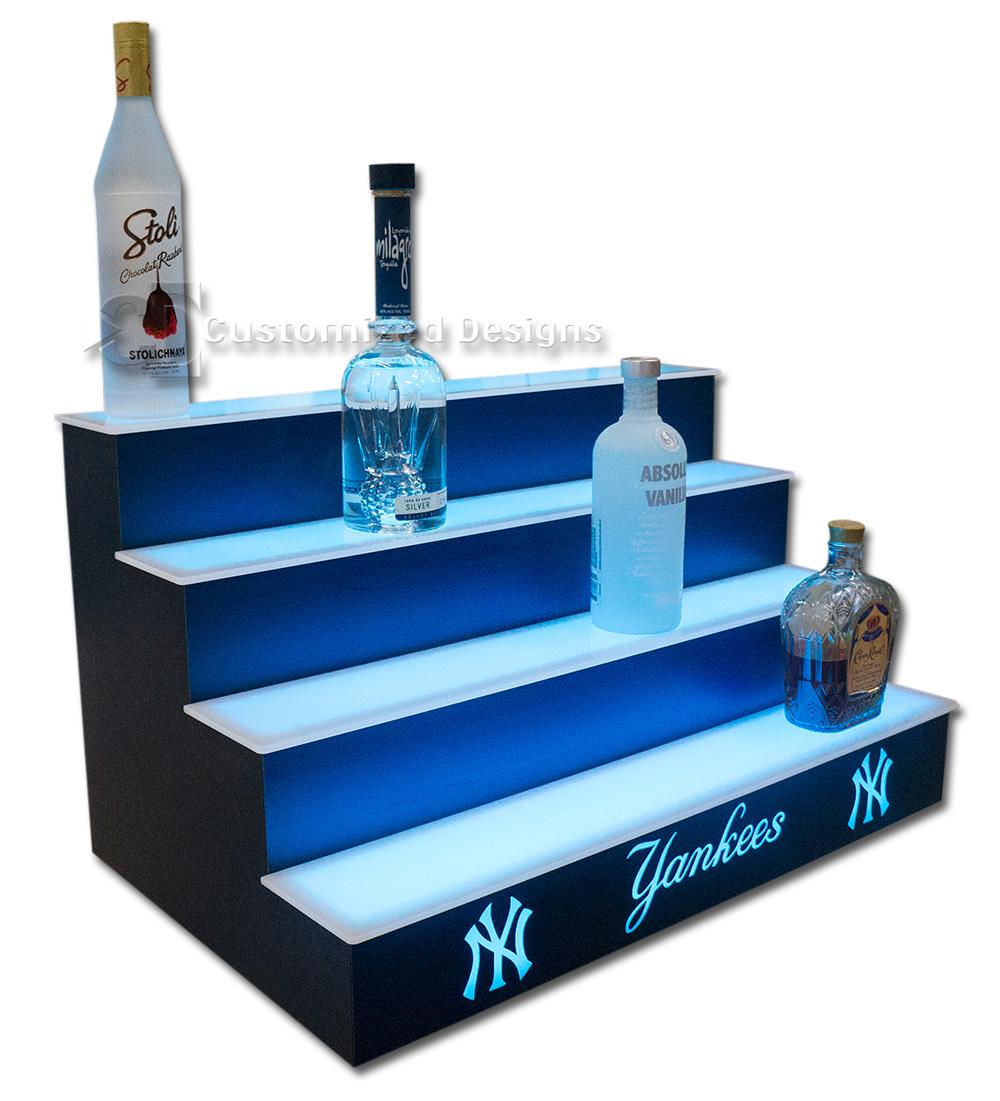 Yankees Home Bar Shelving w/ Navy Blue Finish
